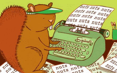 image of squirrel typing